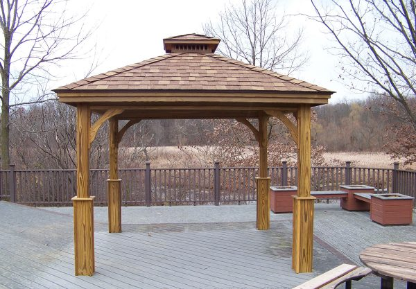 """9' 2"""" x 9' 2"""" Wood Pavilion with Boots, Cedar Stain"""